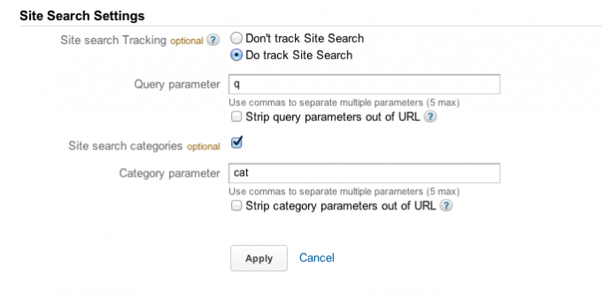 Google Analytics - Site Search Settings