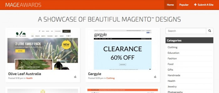 MageAwards.com | A Showcase of Beautiful Magento Website Designs